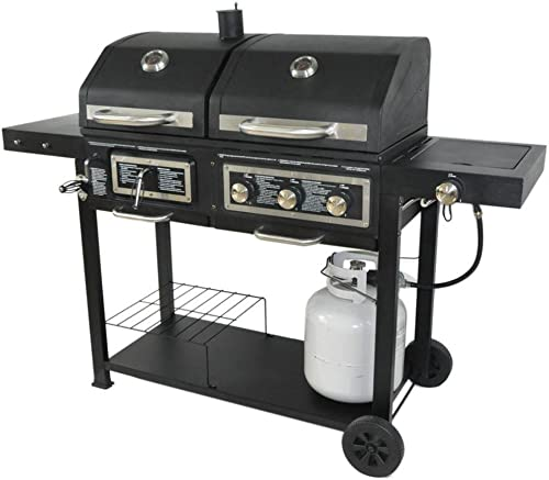 Dual-Fuel-Combination-Charcoal/Gas-Grill