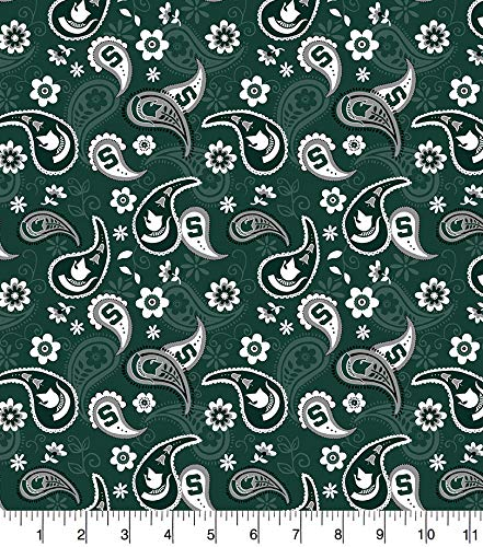 Michigan State Cotton Fabric with Paisley Design-Newest Pattern-Michigan State Spartans Cotton Fabric