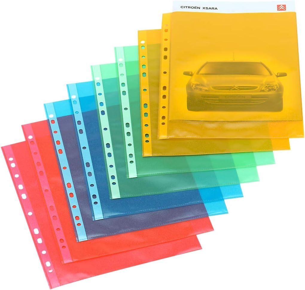SCH/ÄFER SHOP 25 St/ück Klarsichth/üllen Prospekth/üllen DIN A4 /Öffnung oben transparent farbig Gelb genarbt antistatisch dokumentenecht 0,08 mm