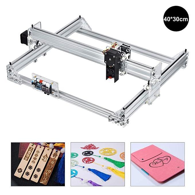 S SMAUTOP Grabadora láser Máquina de grabado Router CNC Tallado en madera Grabado Máquina de corte DIY 5500MW Impresora Logotipo Marcado de imagen (40x30cm, 5500MW): Amazon.es: Bricolaje y herramientas
