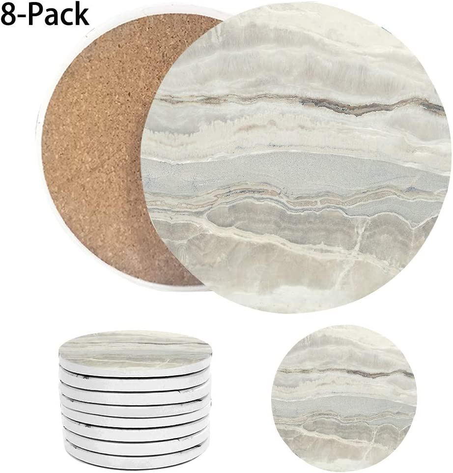 Coasters for Drinks Absorbent, Ceramic Coasters Set 4 Inch with Cork Cup Pad Mats, Modern Decor Housewarming Festival Holiday Gift for Home and Kitchen, Cool Gift Ideas - Set of 8
