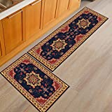 AiseBeau Set of 2 Comfort Flannel Kitchen Rug European Style Kitchen Floor Mat Non-Slip Super Soft Kitchen Runner Bedside Runner Entrance Runner Door Mat 15.7X23.6 IN and 15.7X47.2 IN