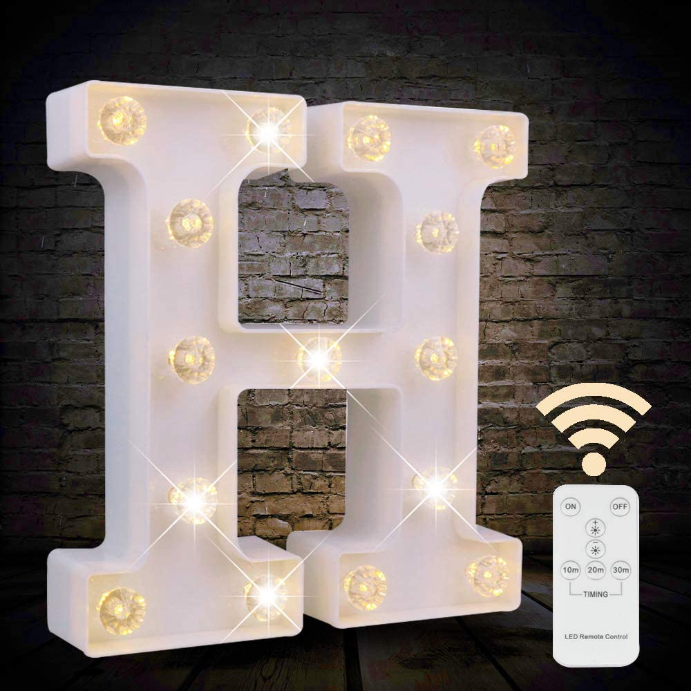 Obrecis White Light Up Marquee LED Letter Sign with Remote Timer Dimmable for Party Wedding Decor, Alphabet Wall Decoration Letter Lights, Letter H