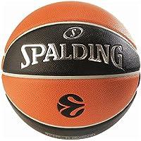Spalding Euroleague TF1000 Legacy SZ.7, (74-538Z) Ballon de Basket Mixte Adulte, Orange/Noir, 7