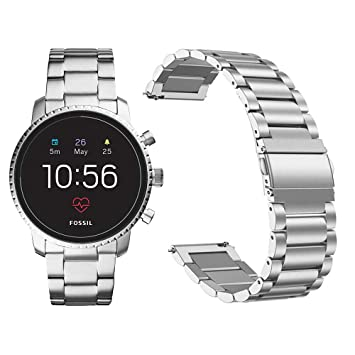 Diruite for Fossil Q Explorist HR Band Strap, 22mm Stainless Steel Metal Replacement Strap Band for Fossil Gen 4 Q Explorist HR/Fossil Gen 3 Q ...