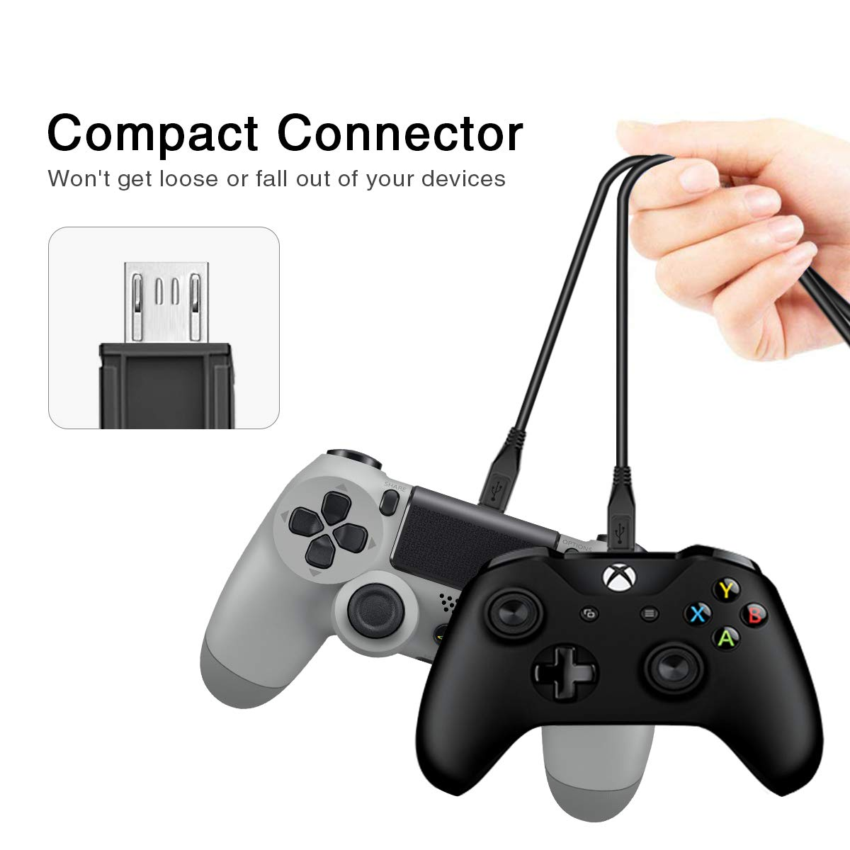 Kimiangel PS4 Charging Cable 2 Pack 5.9ft//1.8M Durable USB 2.0 to Micro USB Fast Charger Sync Cord for PS4 Slim//Pro Controller//Xbox One S//X Controller//Xbox One//Playstation 4//DualShock 4