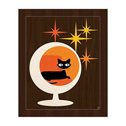 77b2bc19565 Image Unavailable. Image not available for. Color  Cat In Sphere Chair  Orange Mid-Century Postmodern Retro Abstract Painting Illustration Wall Art  Print