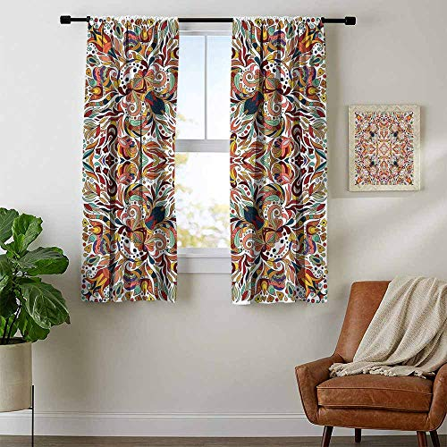 (Mozenou Batik, Curtains Valance, Floral Persian Lines Middle Eastern Bouquet Inspired Kitsch Bohemian Artsy Print, Curtains Kitchen Valance, W63 x L63 Inch Multicolor)