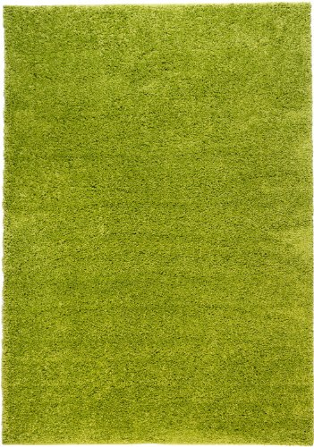 Well Woven Madison Shag Plain Green Modern Solid Area Rug 5' X 7'2''