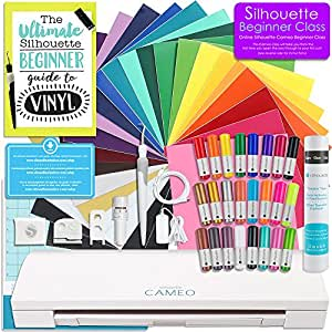 Silhouette Cameo 3 Bluetooth Starter Bundle with 24 Oracal 651 Sheets, Transfer Paper, Guide, Class, 24 Sketch Pens