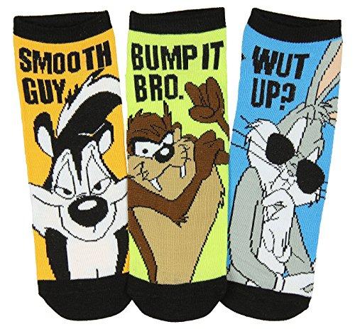 Looney Tunes Bugs Bunny Taz Pepe Le Pew Men's 3 Pack Low Cut Socks (Taz Bugs)