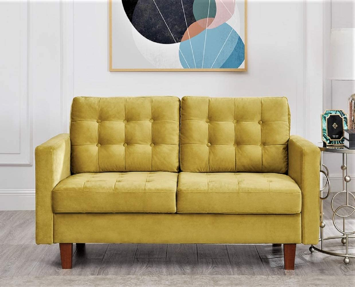 US Pride Furniture Brawith Velvet Loveseat Love Seats, Golden Yellow