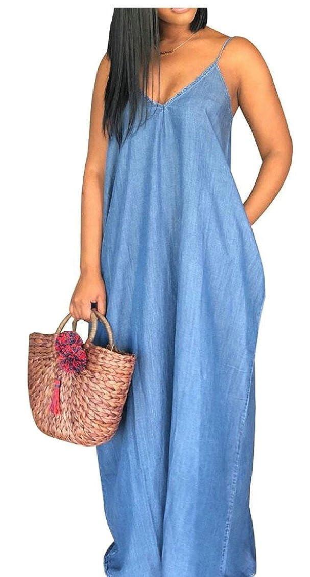 Gocgt Womens V-Neck Spaghetti Strap Denim Maxi Dresses