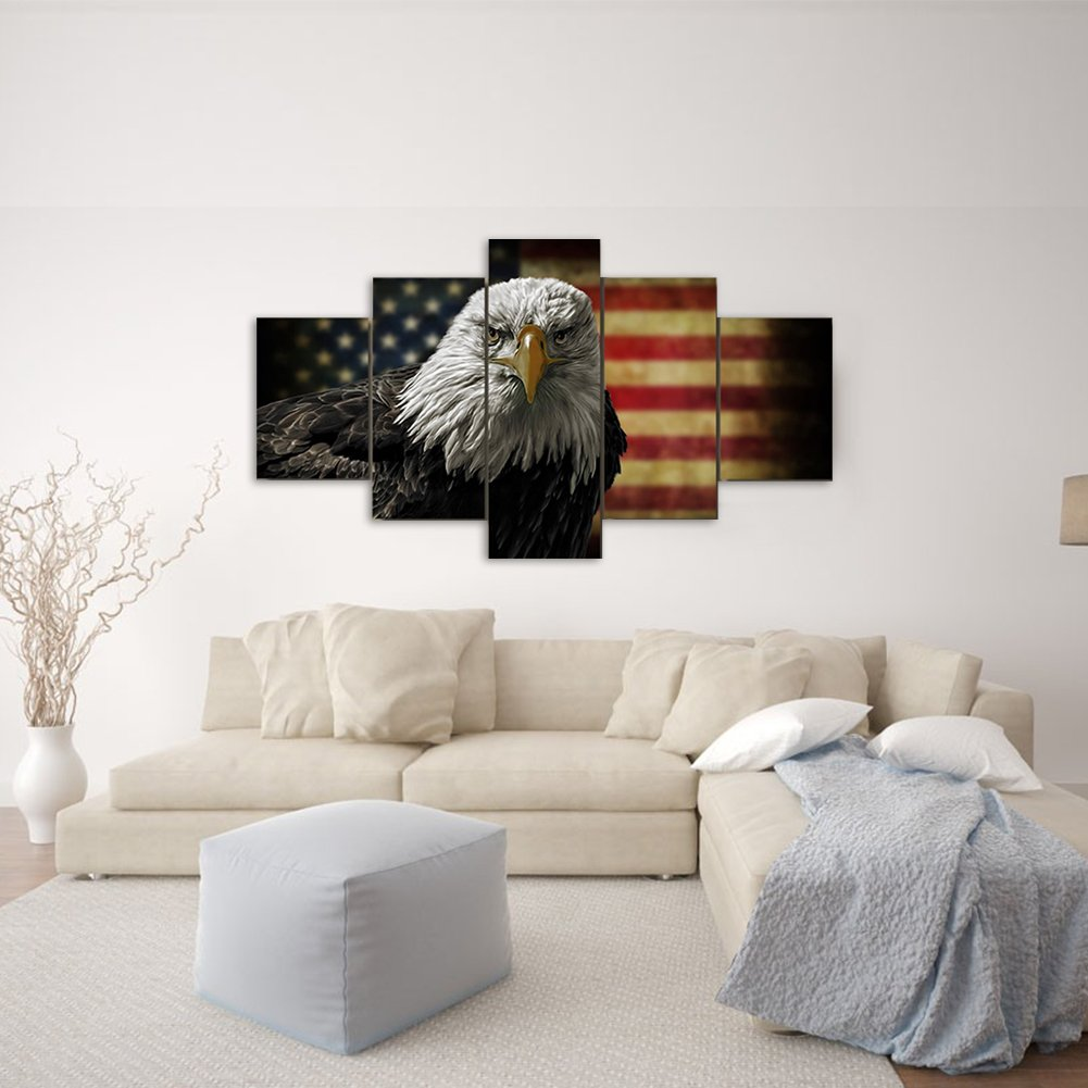Painting Canvas American Flag Eagle Hawk Decorative Wall Art Oil Painting on Canvas Modern Artwork 5 Panels Stretched and Framed for Home Bedroom Living Room Office Decor and housewarming gift