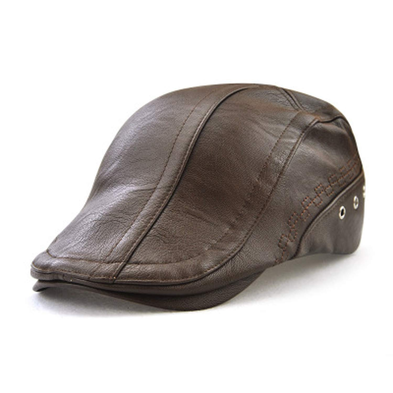 c8aee1eb060 Spring Autumn Winter Men s Beret Caps Fashion Accessories Men s Hats PU  Leather Male Baseball Cap Snapback Cap at Amazon Men s Clothing store