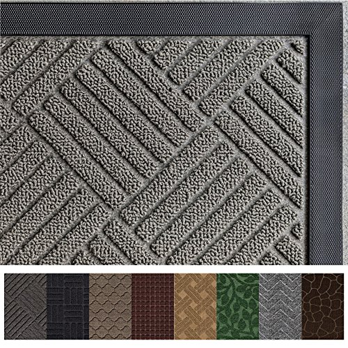 Gray Welcome Mats - Gorilla Grip Original Durable Rubber Door Mat, Heavy Duty Doormat for Indoor Outdoor, Waterproof, Easy Clean, Low-Profile Rug Mats for Entry, Garage, Patio, High Traffic Areas (29 x 17, Gray: Diamond)