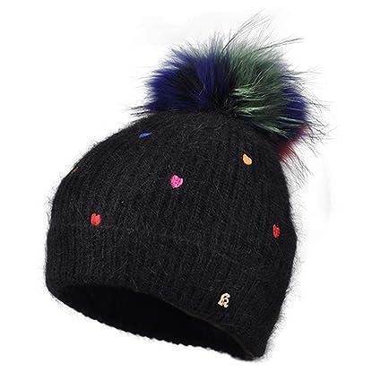 Hat Gorros de Punto Sombreros y Gorras Moda de otoño e Invierno para Mujer  de Piel cd9d8fedfef