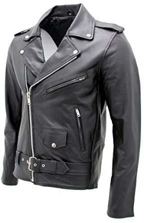 Mens Stylish Brando Casual Black Leather Biker Jacket at Amazon Mens Clothing store: