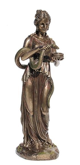 Hygeia Greek Goddess Of Health And Sanitation, Cold Cast Bronze,10 3 4 Inch Tall