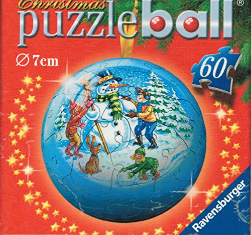 Ravensburger Christmas Puzzle Ball Ornament. Building a Snowman. 60 Pieces