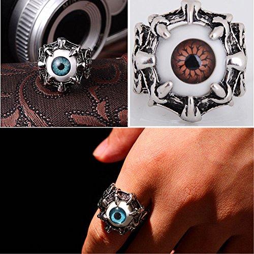 Men's Punk Retro Dragon Claw Blue Evil Eye Skull Stainless Steel Biker Ring Hot Size9-12