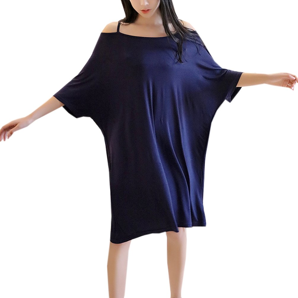 ENJOYNIGHT Sleepshirt Sexy Modal Nightshirt For Women Plus Size S-XXL (Dark Blue)