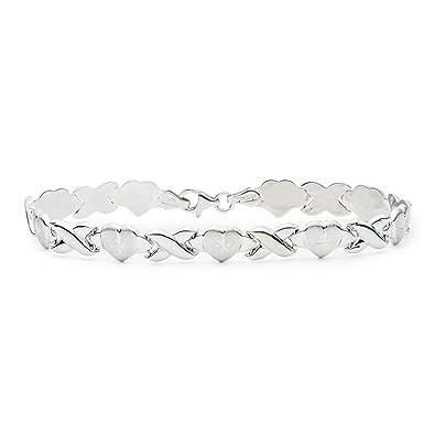 7 Inch 10k White Gold Stampato Xoxo X \u0026 Heart Chain Bracelet