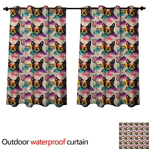 Astoria Crystal Clear (Anshesix Dog Lover 0utdoor Curtains for Patio Waterproof Colorful Crystals Pattern Triangles Sixties Inspired Psychedelic Boston Terrier W55 x L45(140cm x 115cm))