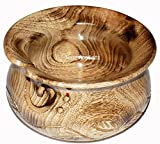 Naaz Wood Arts Yarn Bowl-7''x4'' Rosewood -Wooden with Handmade from Sheesham Wood- Heavy & Sturdy to Prevent Slipping. Perfect Yarn Holder for Knitting & Crocheting Burn Antiqe with Hand Carving