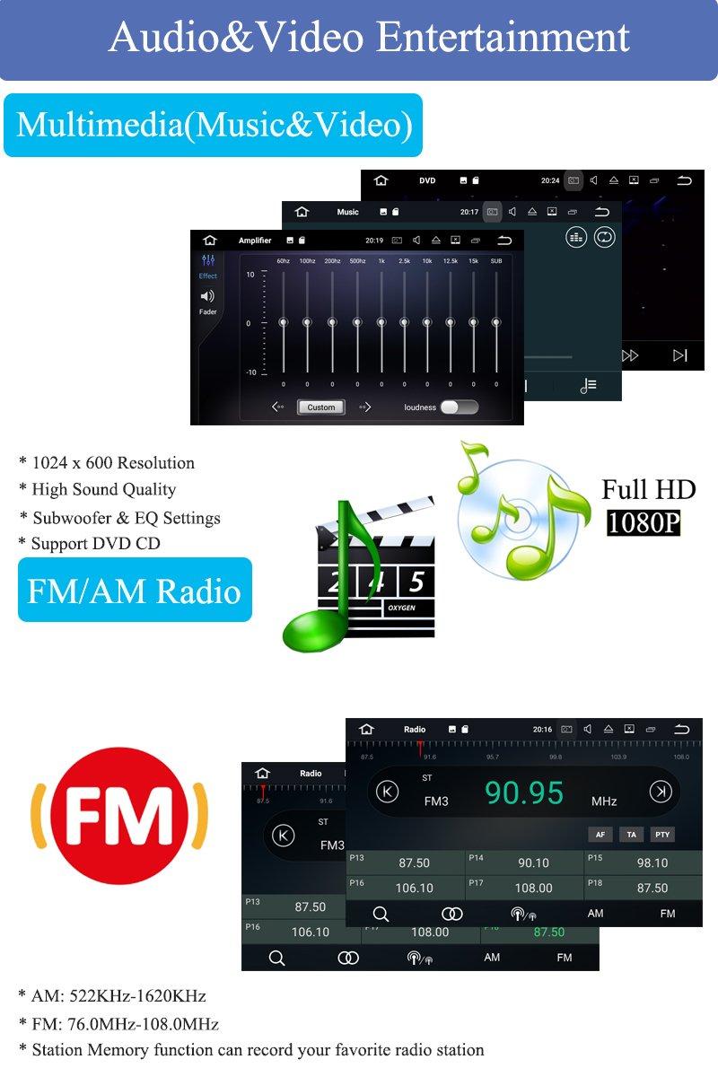 Schwarz, mit R/ückfahrkamera und DVR Galaxy S-Max Dash 2 Din 8-Core RAM 4G ROM 32G Car Radio 7 Autonavigation Kopfeinheit Car Audio f/ür Ford Focus Mondeo Hi-azul Android 8.0 Car Autoradio C-Max