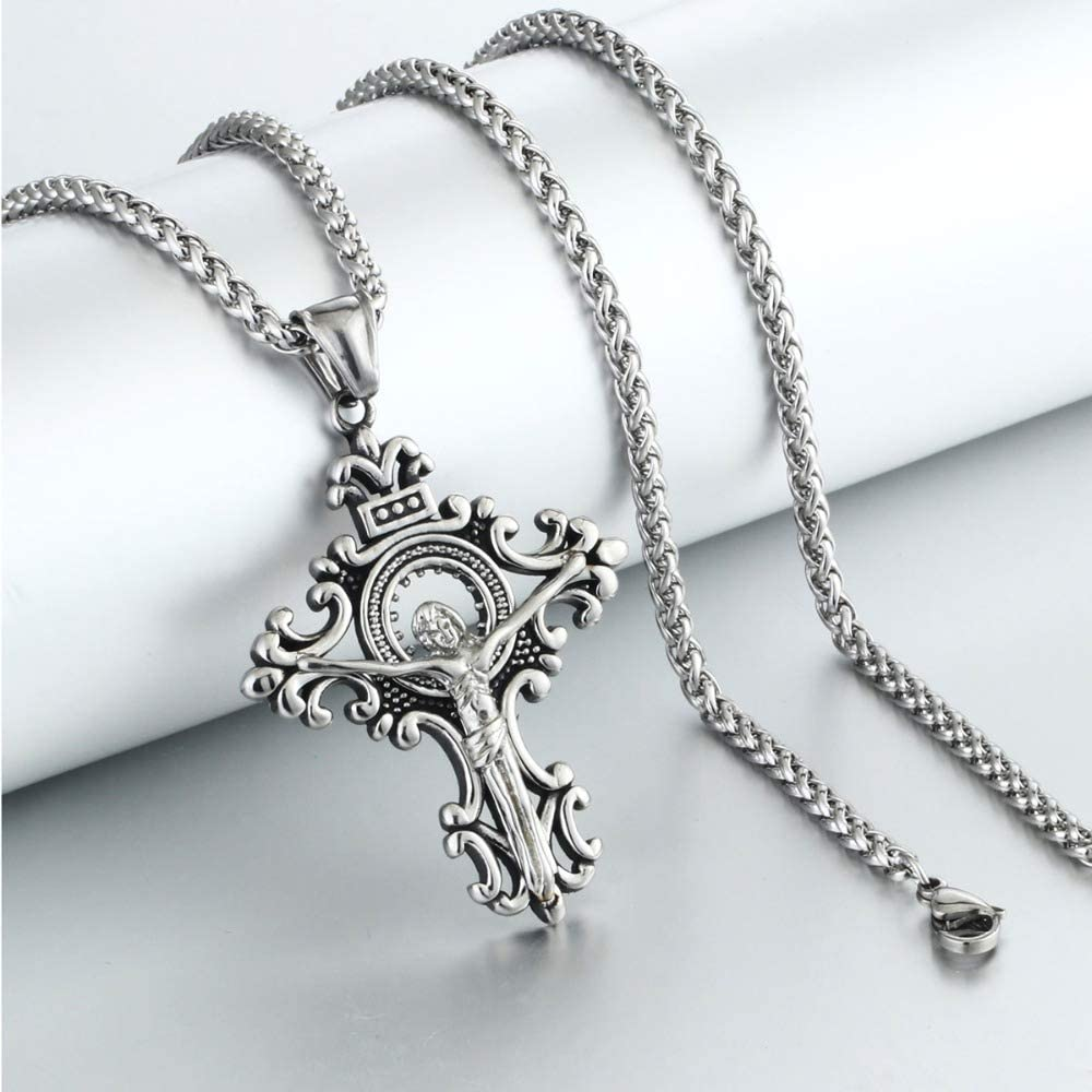 Jesus Cross Pendant/&necklace For Men Vintage Stainless Steel Link Chain Necklace Metal Religious Jewelry Statement Gifts