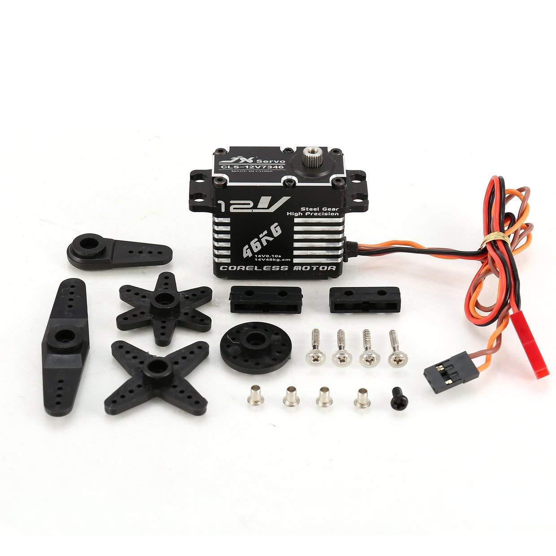 Qewmsg JX CLS-12V7346 46KG Metalllenkung Metalllenkung Metalllenkung Digital Gear Coreless Servo mit 12 V HV High Torque Spannung für RC Car Robot Drone 7ff334