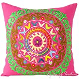 Eyes of India 16'' Pink Colorful Decorative Embroidered Pillow Sofa Cushion Cover Couch Throw Boho Indian Bohemian