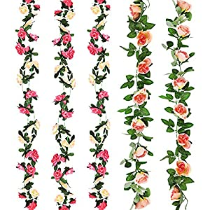 CEWOR 5pcs Fake Flowers Vine Artificial Flowers Rose Vine for Home Wedding Party Garden Decor(Two Pinks) 12