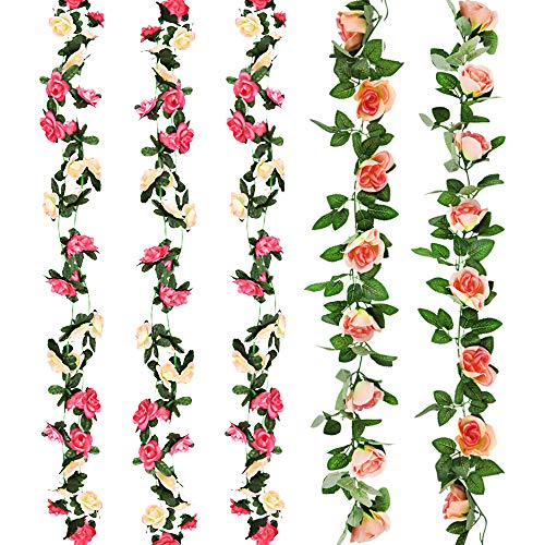 CEWOR 5pcs Fake Flowers Vine Artificial Flowers Rose Vine for Home Wedding Party Garden Decor(Two Pinks) from CEWOR