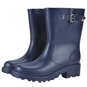 Women's Anti-slip Rubber Half Rain Boots Waterproof Martin Rain Shoes Blue US 8.5