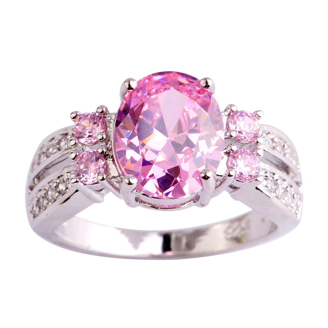 Amazon.com: Psiroy Women\'s 925 Sterling Silver Created Pink Topaz ...