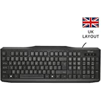 Trust Classicline Wired Full Size Keyboard for PC and Laptop, UK Layout - Black