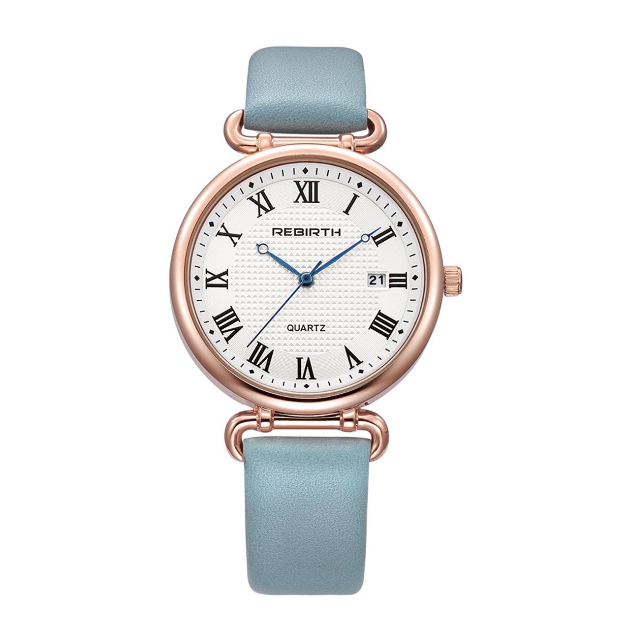 Top Plaza Women Elegant Simple Rose Gold Tone Bracelet Watch Japanese Movement Roman Numerals PU Leather Waterproof Analog Quartz Watch(Light Blue)