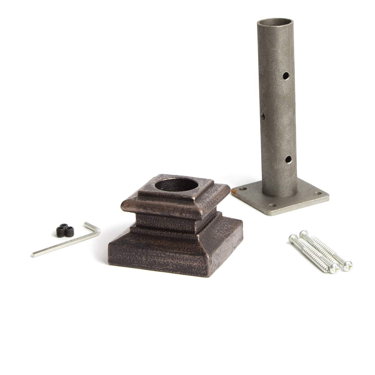 Oil Rubbed Bronze 16.3.14 Newel Mounting Kit for 1-3/16 inch Round Iron Newel Posts for Stair Remodeling by House of Forgings