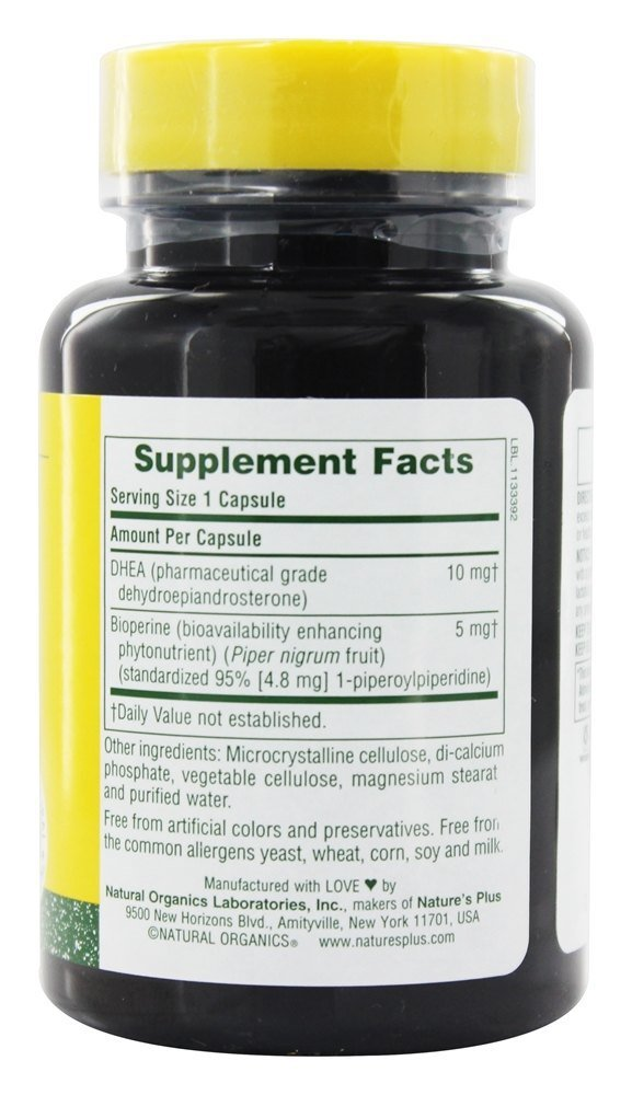 Nature s Plus DHEA-10 with Bioperine 90 Veggie Caps