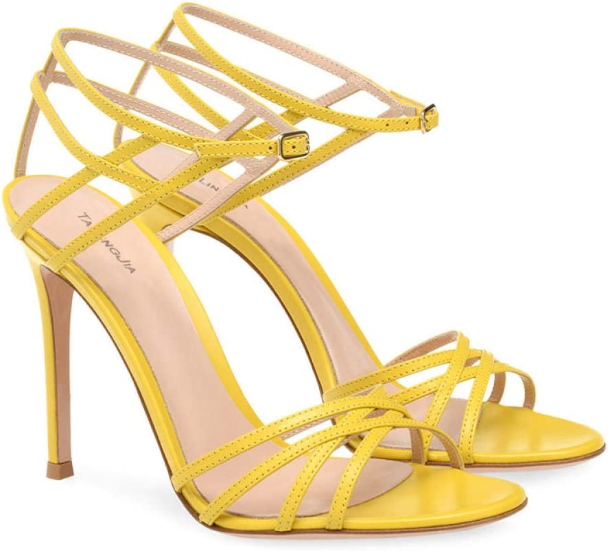 Tingxx Buckle Open Toe High Heeled Sandals Fashion Women's Shoes Black_43 Yellow