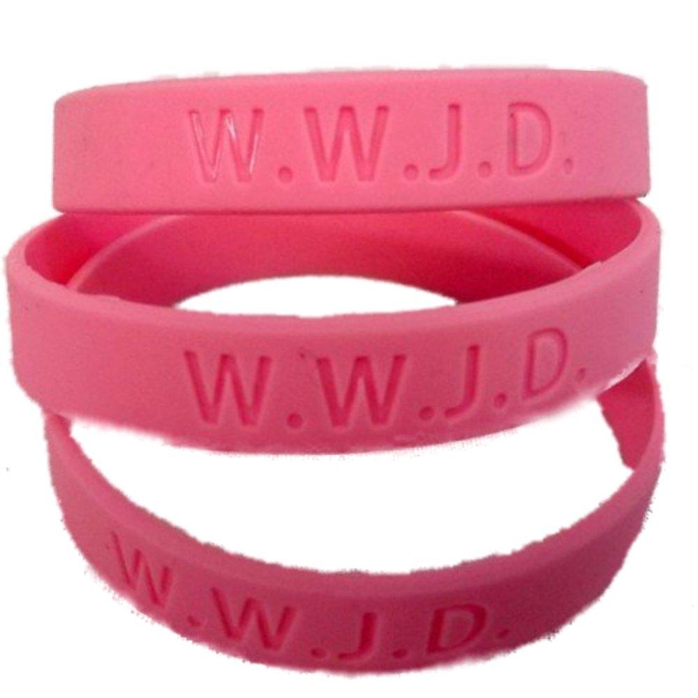 Amazon.com: 12 W.W.J.D. Silicone Wrist bands WWJD 1 dozen Pink: Toys ...