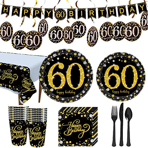 60th Birthday Party Plates (Trgowaul 60th Birthday Party Supplies - Black and Gold Disposable Paper Plates, Napkins, Cups, Tablecover Forks, Knives and Spoons for 16 Guests and Party Supplies Decorations)