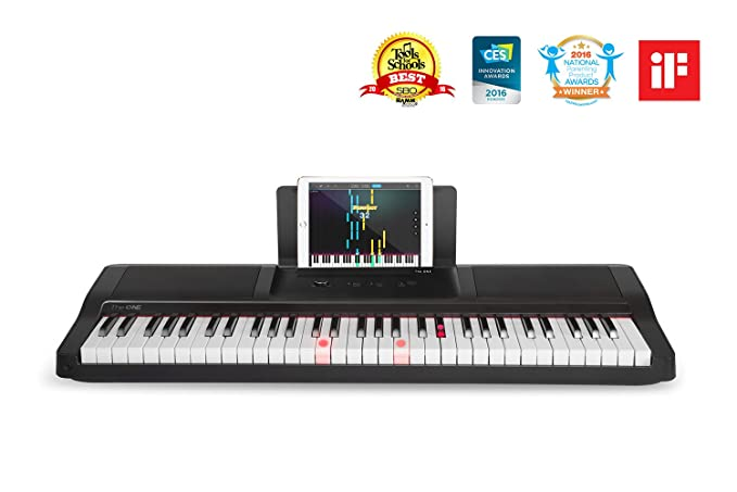 The ONE Smart Piano Keyboard with Lighted Keys, Electric Piano 61 keys,  Home Digital Music Keyboard, Teaching Portable Keyboard Piano, Black