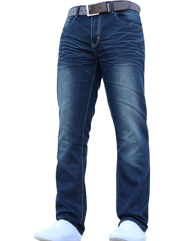 CrossHatch Herren klassisch gerades Bein Regular Fit Stylisch Jeans jeanbase alle Größen & Größen Gratis Gürtel B01N9R9OLM Jeanshosen Internationale Wahl