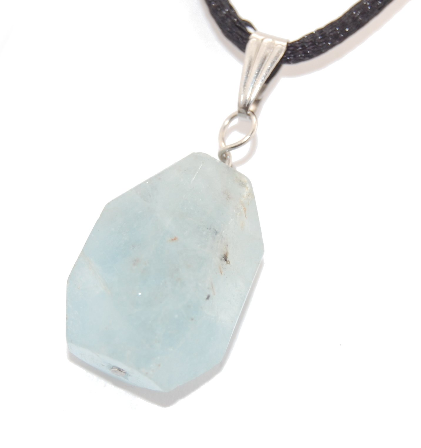 Miner's Horde - Faceted Chunk Nugget Aquamarine 18-19mm tall Blue - 20'' to 24'' Adjustable Black Poly Woven Washable Cord Stainless Bail, Natural Crystal Gemstone Carved Necklace Pendant