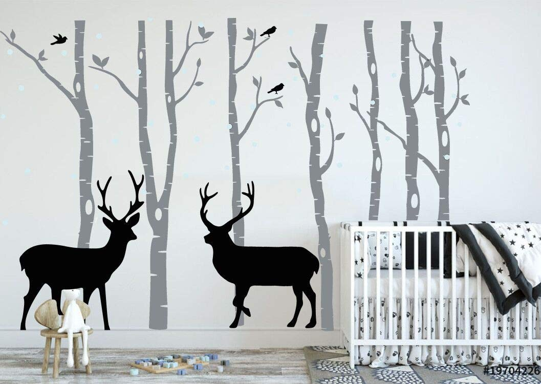 DAEGOD Birch Tree Deer Wall Decal Forest Birch Trees Vinyl Sticker Wall Decal Wall Stickers Kids Bedroom Decor Nursery Bedroom (Grey+Black)