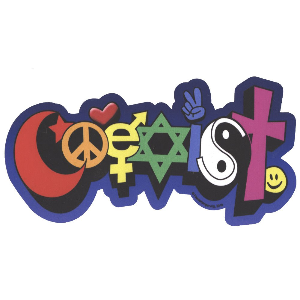 Coexist Peace Symbol Interfaith Color Sticker