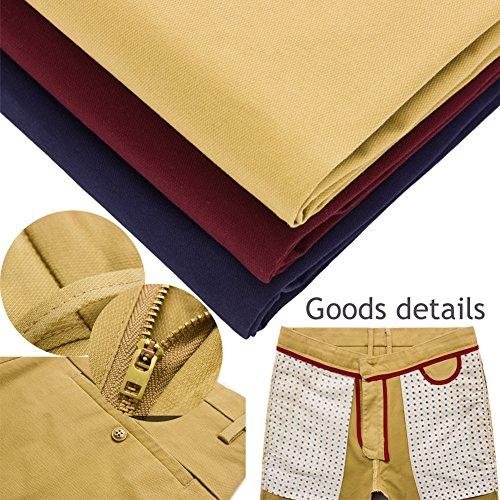 Laixing Buena Calidad HS376 Men Casual Shorts Cotton Shorts Knee Length Pants Wine Red